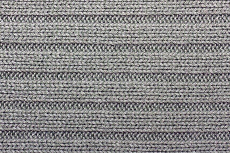 Rayures horizontales de tricotage grises de fond photographie stock libre de droits
