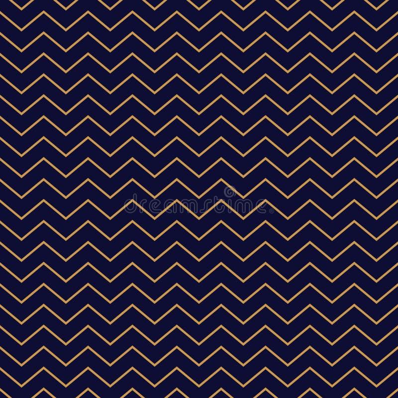 Rayures minces de modèle de Chevron d'or sans couture de fond sur le bleu illustration stock