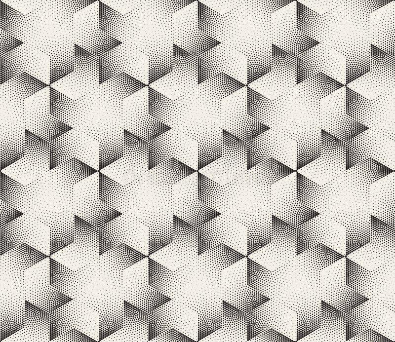 Rayures noires et blanches sans couture de vecteur pointillant Dots Hexagonal Triangular Pattern tramé illustration libre de droits