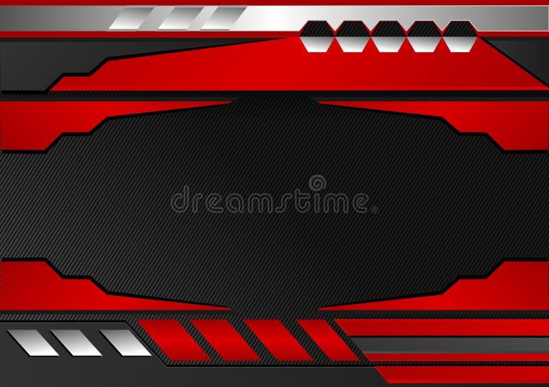 Rayures noires et rouges Fond abstrait de vecteur, conception graphique de technologie illustration de vecteur