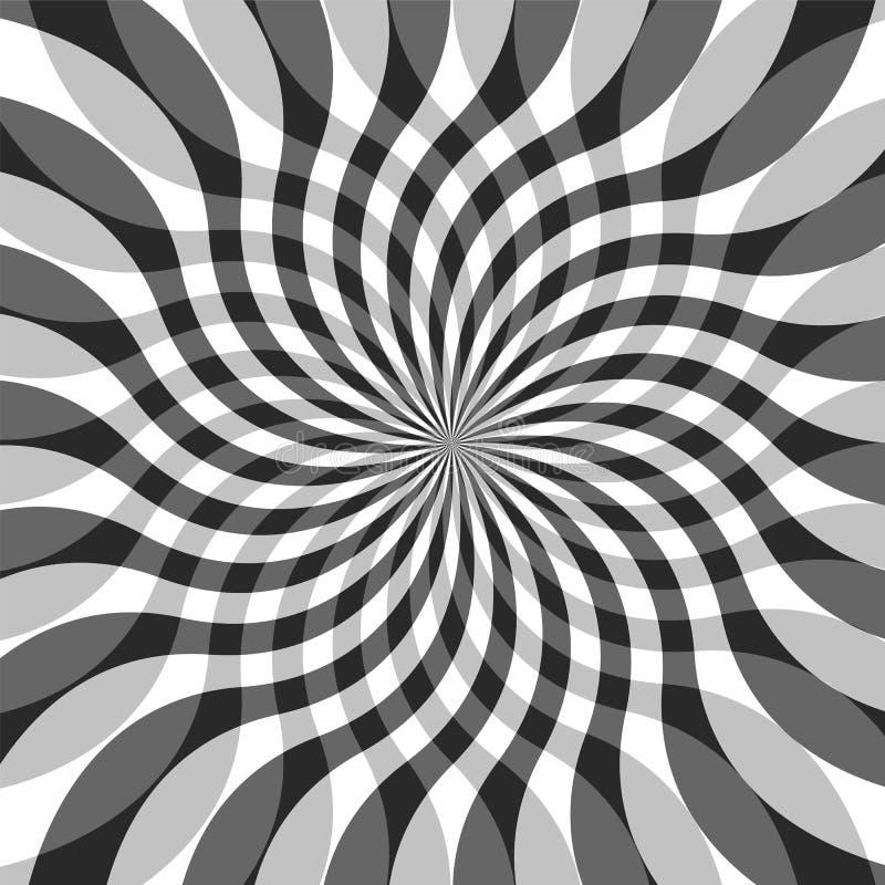 Rayures onduleuses de intersection transparentes monochromes augmentant du centre Fond abstrait géométrique illustration libre de droits