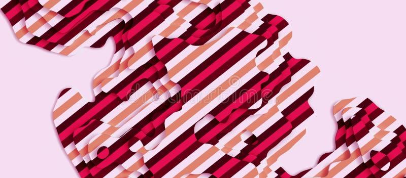 Rayures rouges de pattern_Pink géométrique abstrait sur le fond blanc illustration stock