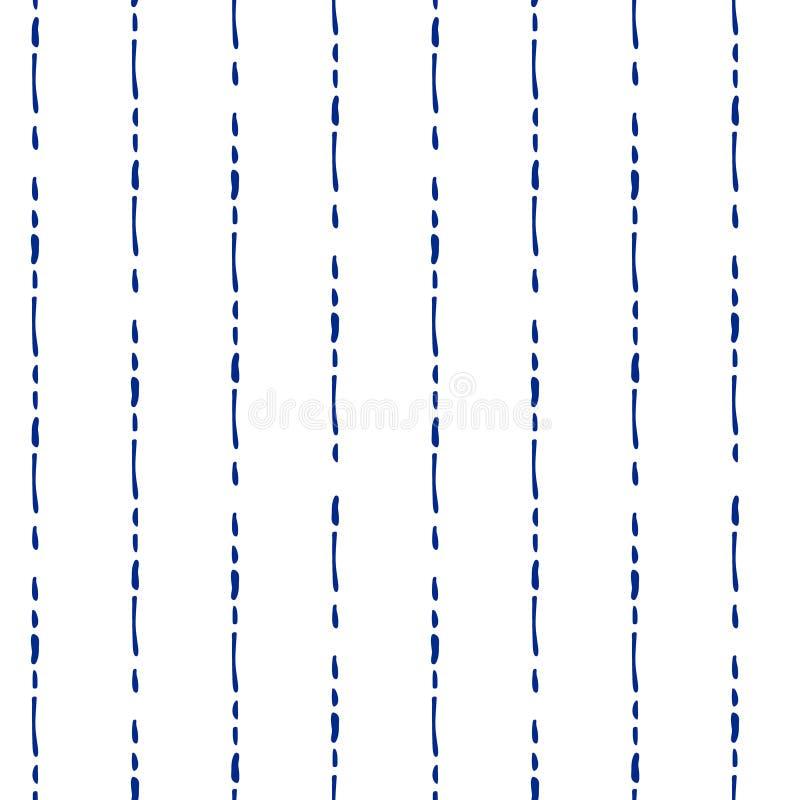 Rayures tirées par la main géométriques simples bleues et blanches modèle sans couture, vecteur illustration de vecteur