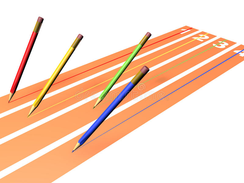 Raza de los lápices stock de ilustración