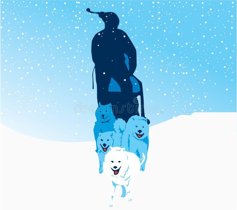 Raza de perro de trineo stock de ilustración