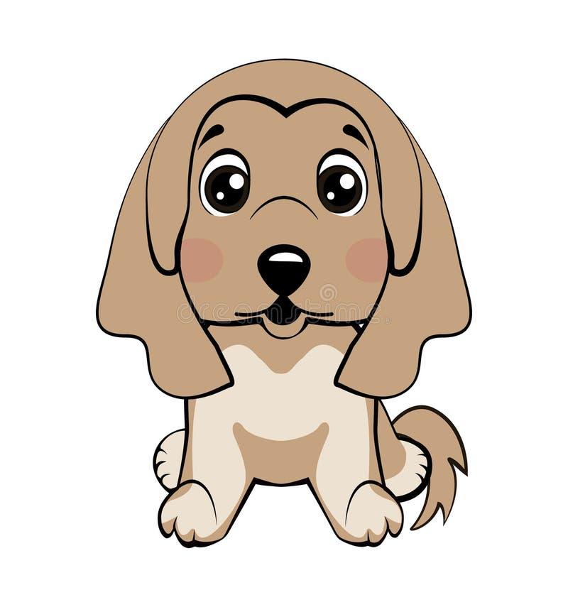 Raza del afgano Vector el perro aislado el ejemplo común de la historieta del carácter de Emoji desconcertado, tímido y se rubori stock de ilustración
