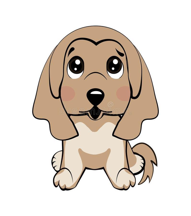 Raza del afgano Vector el perro aislado el ejemplo común de la historieta del carácter de Emoji desconcertado, tímido y se rubori ilustración del vector
