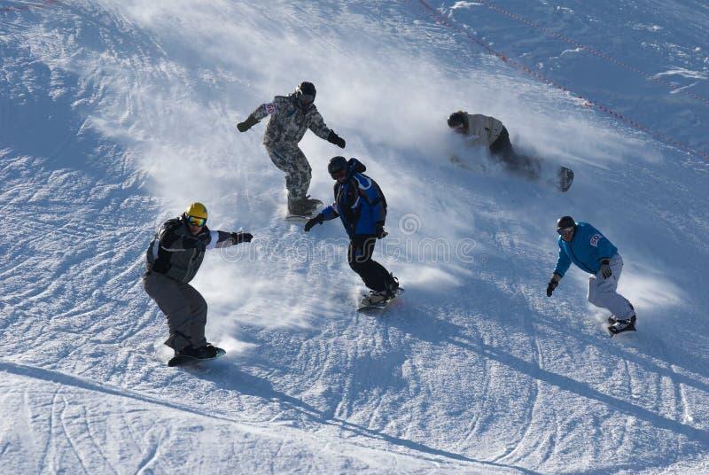 Raza extrema de la snowboard imágenes de archivo libres de regalías