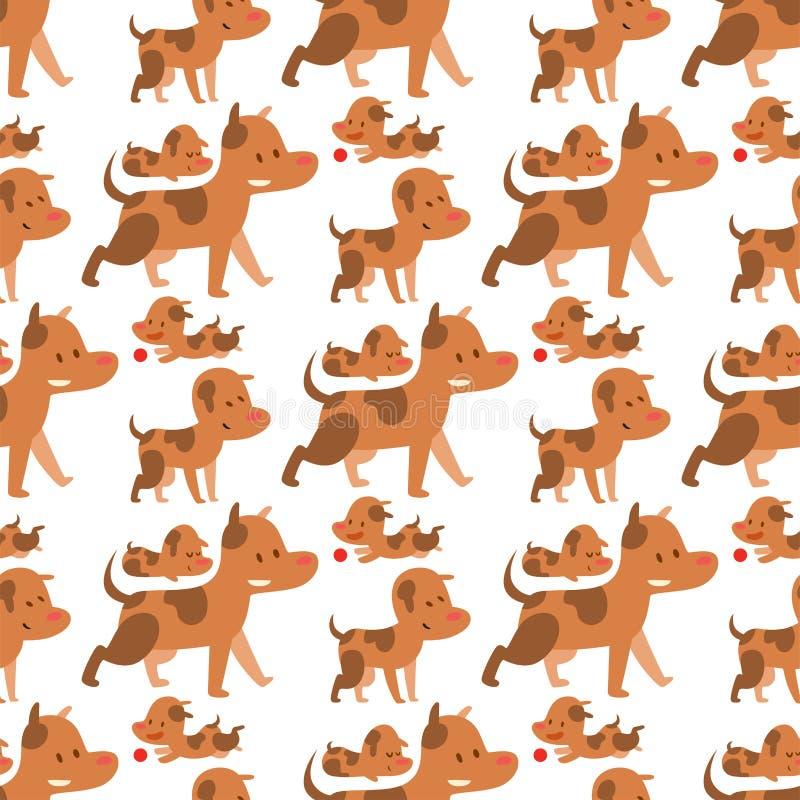 Raza feliz del mamífero de los perros del ejemplo del vector de los caracteres del modelo de la sonrisa cómica criada en línea pu ilustración del vector
