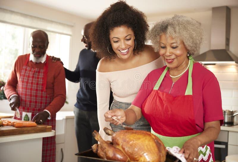 Raza mixta mayor y miembros de la familia adultos jovenes que hablan en la cocina mientras que prepara la cena de la Navidad junt fotografía de archivo