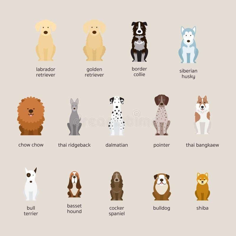 Razas del perro fijadas, grandes y talla media stock de ilustración