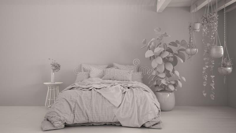 Razem projekt biały, sypialnia współczesna, parkiet, drewniana podłoga Łóżko miękkie z poduszkami, kocem i duvetem, ilustracji