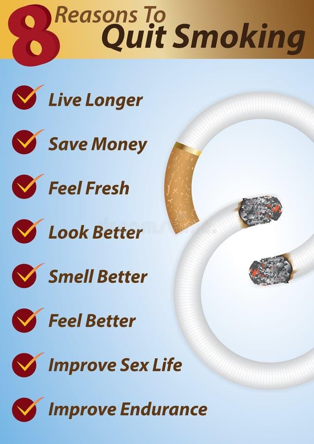 8 razones para abandonar el fumar ilustración del vector