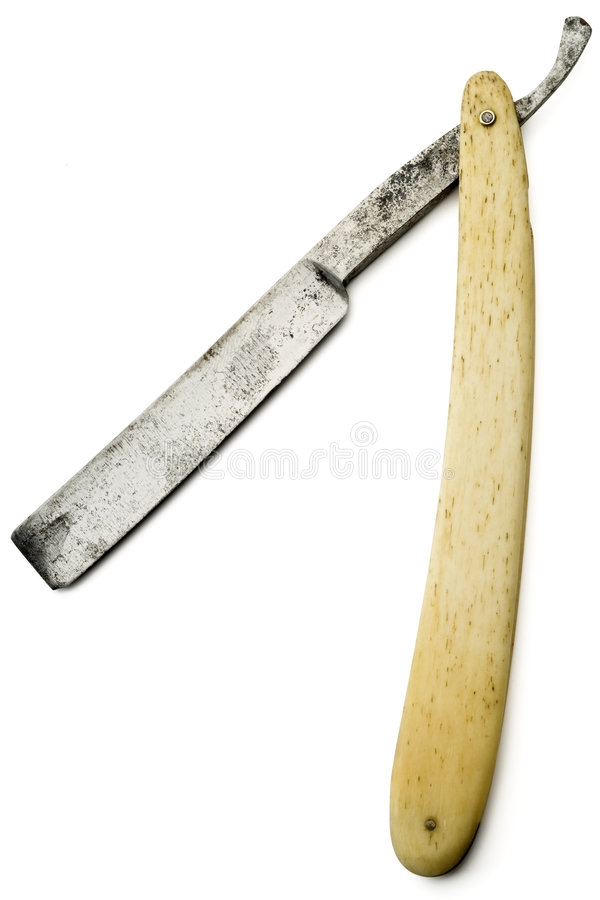 Razor. An old rusty razor on white with clipping path stock photos