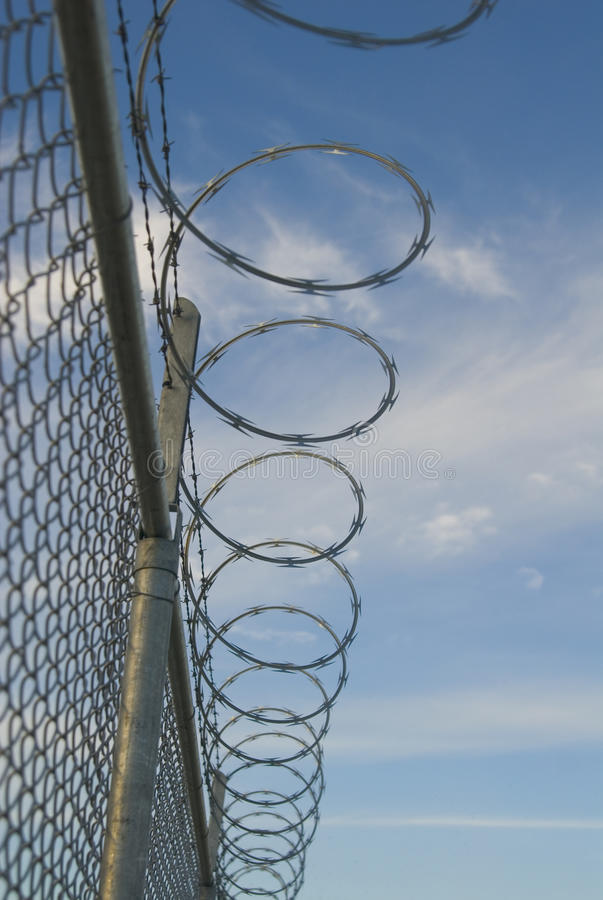 Razor And Barb Wire On Top Of Chain Link Fence Stock Photo - Image ...