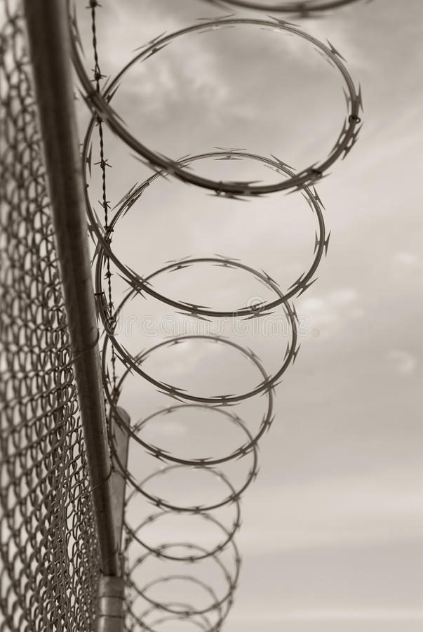 Download Razor And Barb Wire On Top Of Chain Link Fence Stock Photo - Image of chain, toned: 12808424