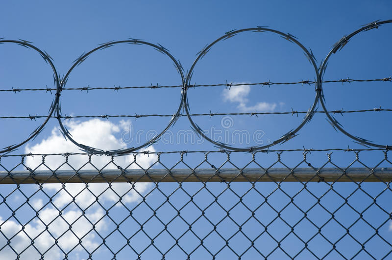 Download Razor And Barb Wire On Top Of Chain Link Fence Stock Image - Image: 17182839