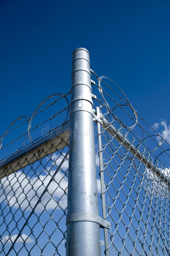 Razor And Barb Wire On Top Of Chain Link Fence Stock Image - Image ...