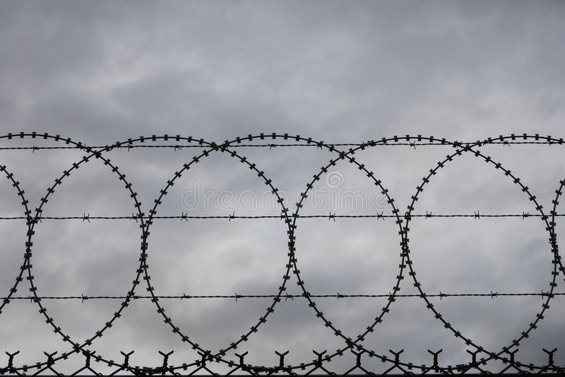 Razor and Barbed Wire Security Fencing stock image