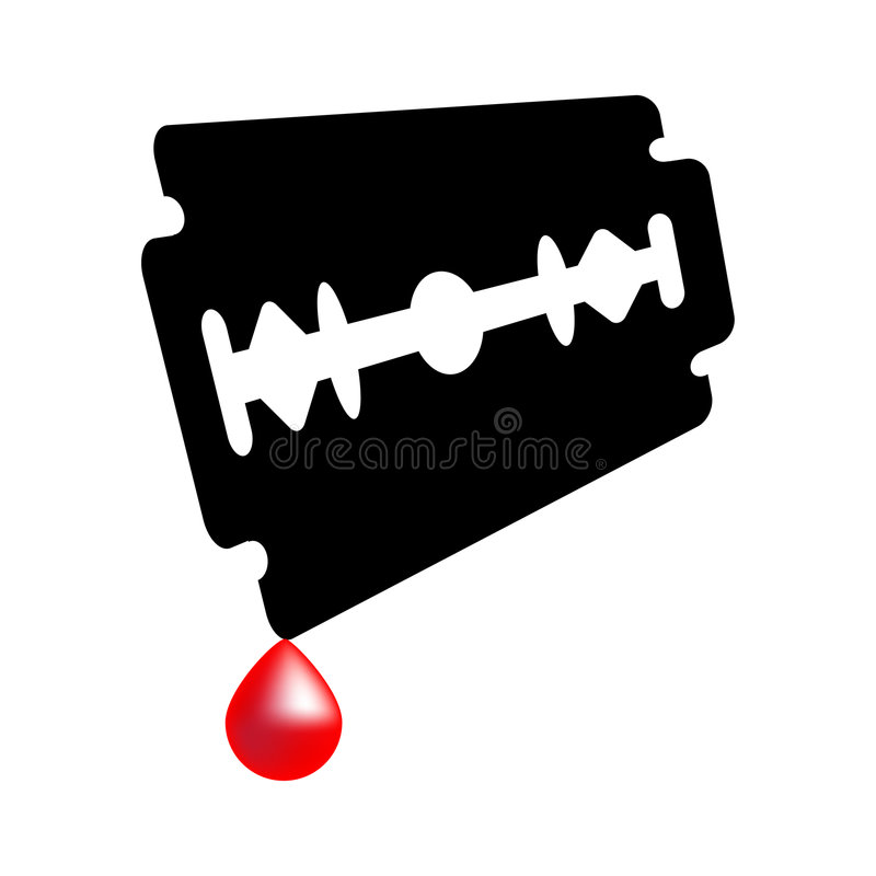 Razor blade. A design of razor blade - blood drops vector illustration