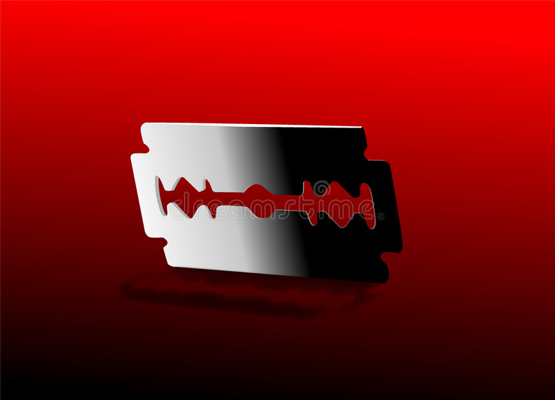 Razor Blade. Illustraion in red background royalty free illustration