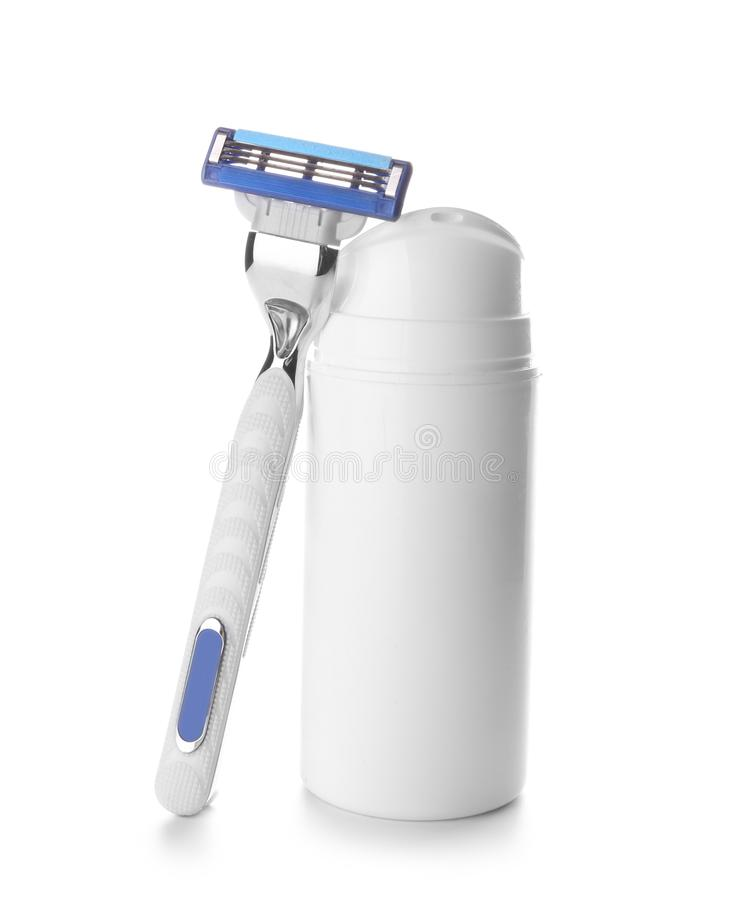 Razor and bottle with gel for shaving on white background royalty free stock images