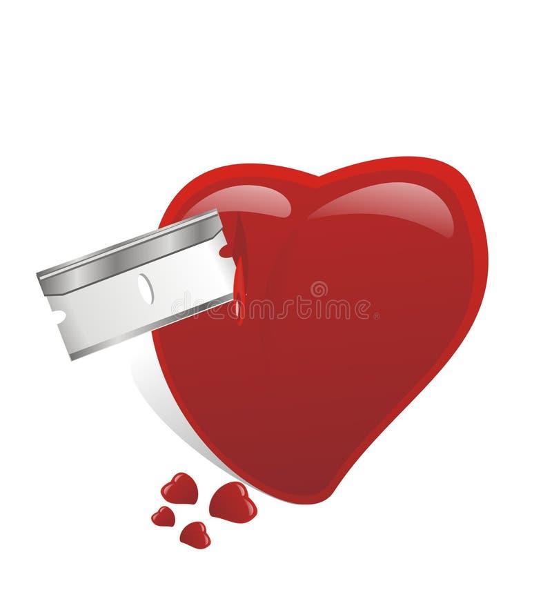 Razor knifed broken heart stock photography
