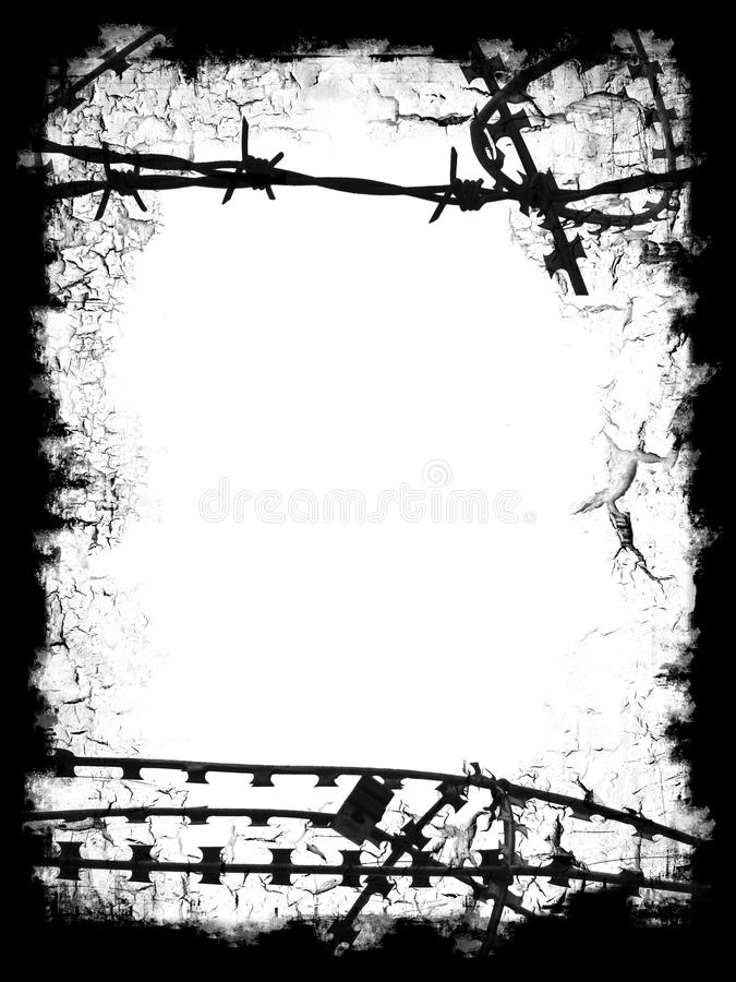Razor Wire Black Frame Stock Photos