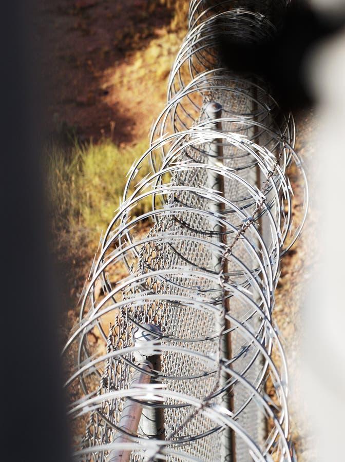 Razor wire fence. stock images