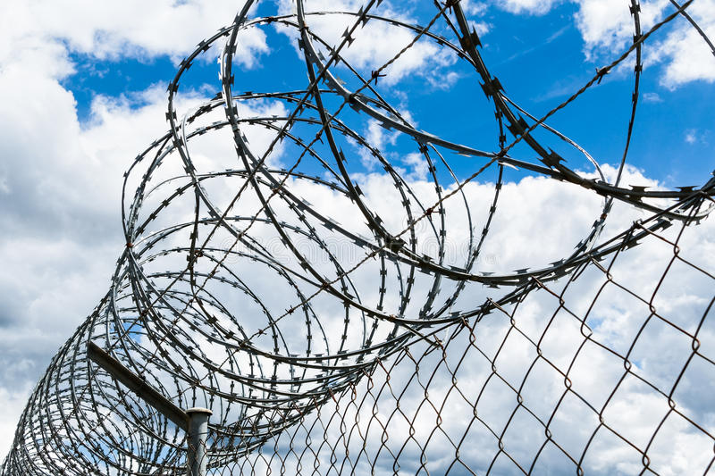 Razor Wire Security Fence royalty free stock photo
