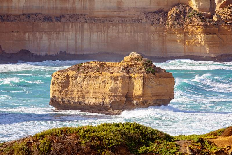 Razorback Landmark In Loch Ard Gorge The Great Ocean Road Australia. The well-known Razorback landmark on The Great Ocean Road tourist destination Australia royalty free stock photos