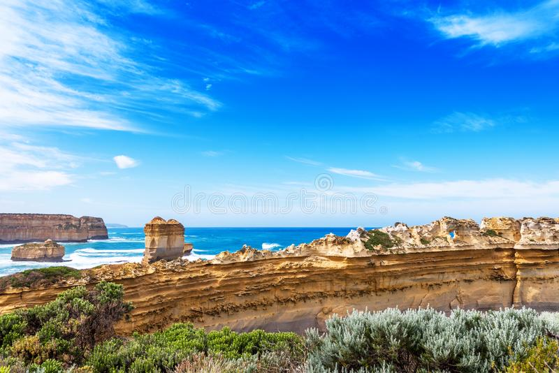 The Razorback rock in Port Campbell National Park, Victoria, Australia.  royalty free stock images