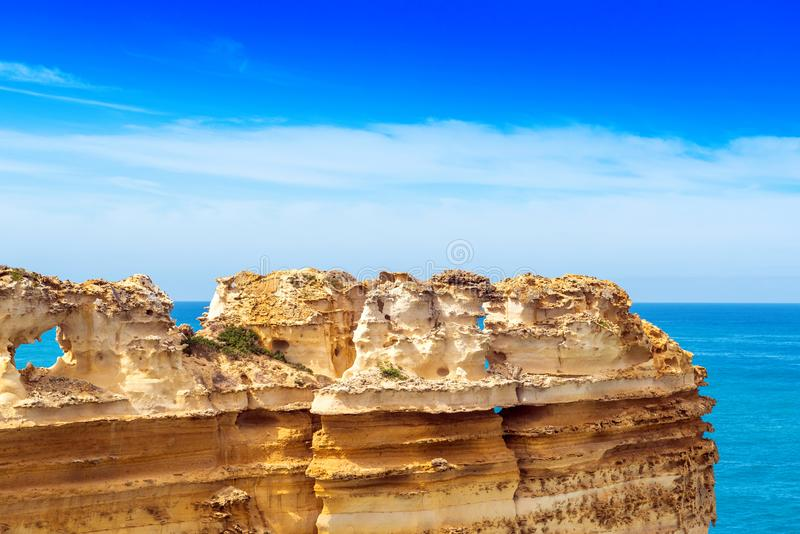 The Razorback rock in Port Campbell National Park, Victoria, Australia. Copy space for text.  stock photos