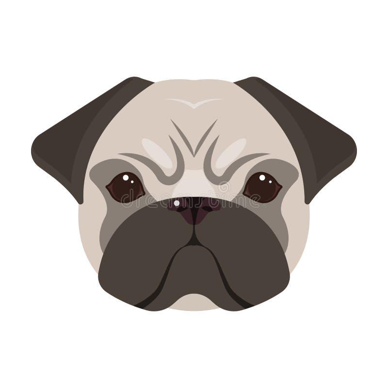 Razza di un cane, un carlino Icona della museruola del ` s del carlino singola nel web dell'illustrazione delle azione di simbolo illustrazione di stock