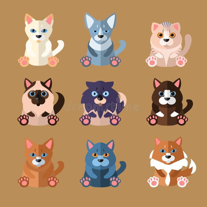 Razze delle icone dei gatti Illustrazione di vettore royalty illustrazione gratis