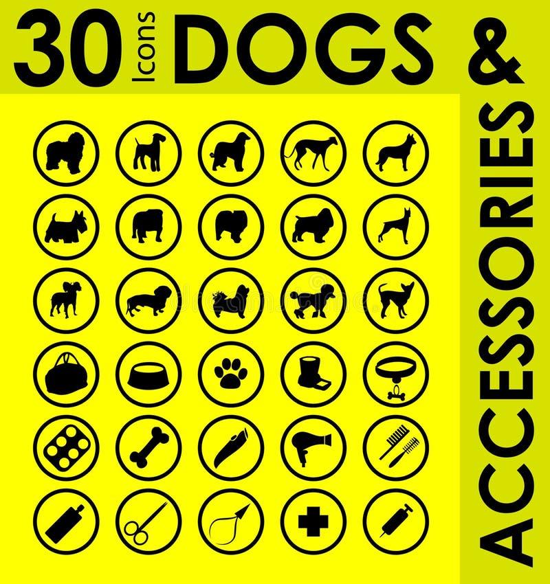 Razze differenti degli accessori dei cani illustrazione vettoriale