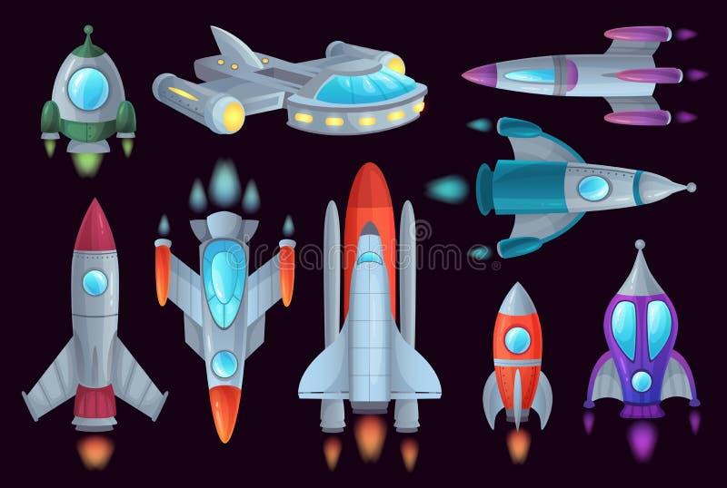 Razzi del fumetto Rocketship dello spazio, razzo aerospaziale ed insieme dell'illustrazione di vettore isolato nave del veicolo s royalty illustrazione gratis