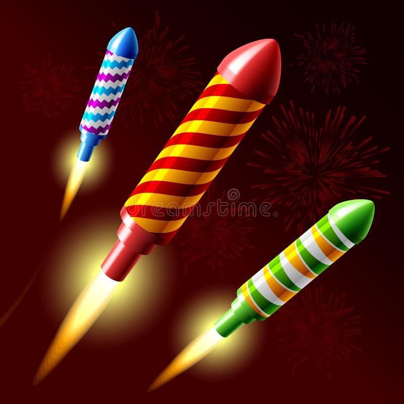 Razzo dei fuochi d'artificio di volo. Vettore. illustrazione di stock