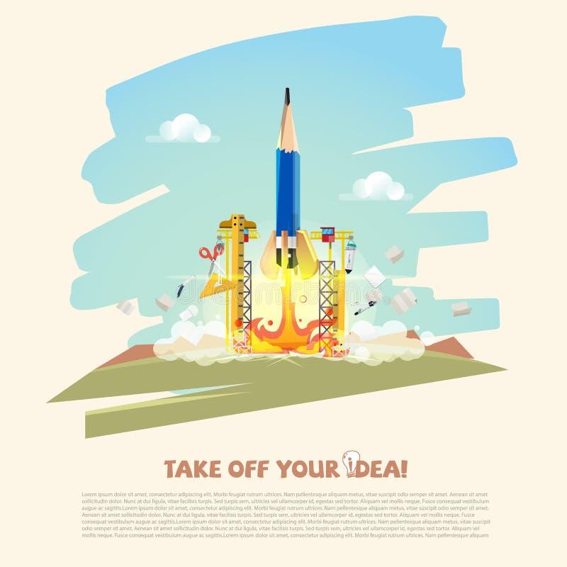 Razzo della matita che decolla in missione con i rifornimenti creativi Inizi sul concetto di creatività e di affari - illustrazio illustrazione di stock