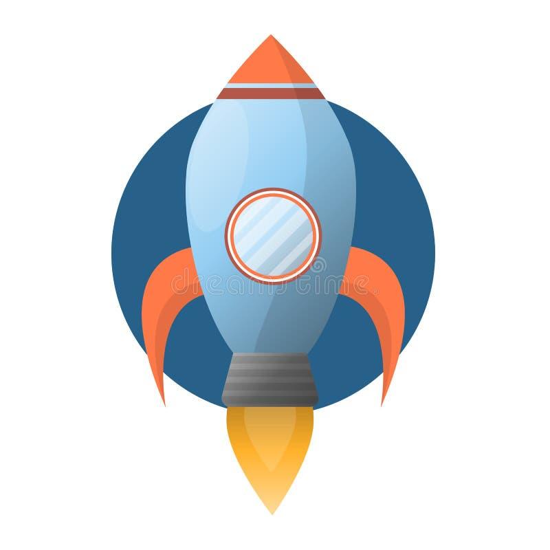 Razzo di spazio blu spazioso con la turbina potente del fuoco illustrazione vettoriale