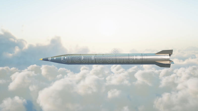 Razzo nucleare balistico che sorvola le nuvole Guerra e concetto militare rappresentazione 3d fotografia stock