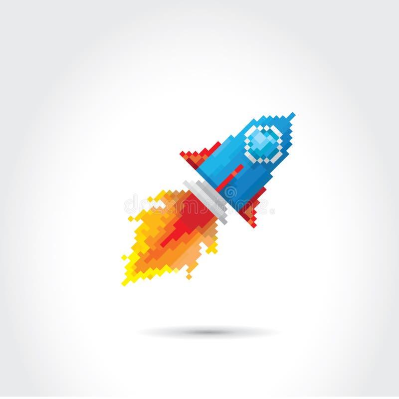 Razzo piano del pixel di vettore su fondo bianco illustrazione di stock