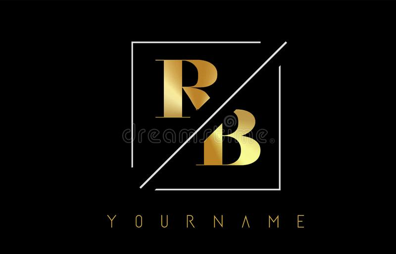 RB Golden Letter Logo with Cutted and Intersected Design. And Square Frame Vector Illustration royalty free illustration