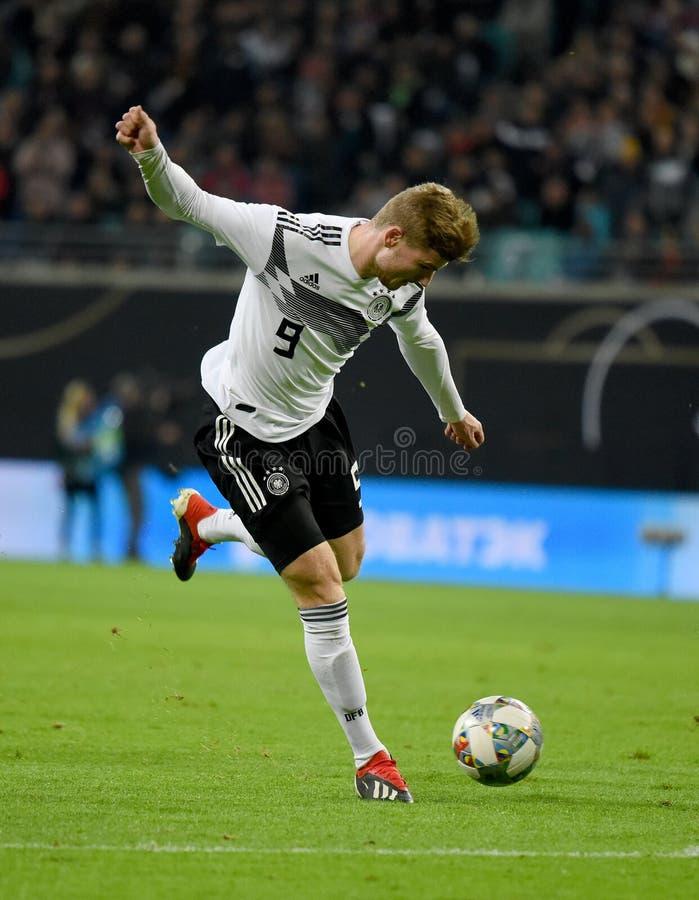 Rb Leipzig en de Duitse nationale striker Timo Werner van het voetbalteam royalty-vrije stock afbeeldingen