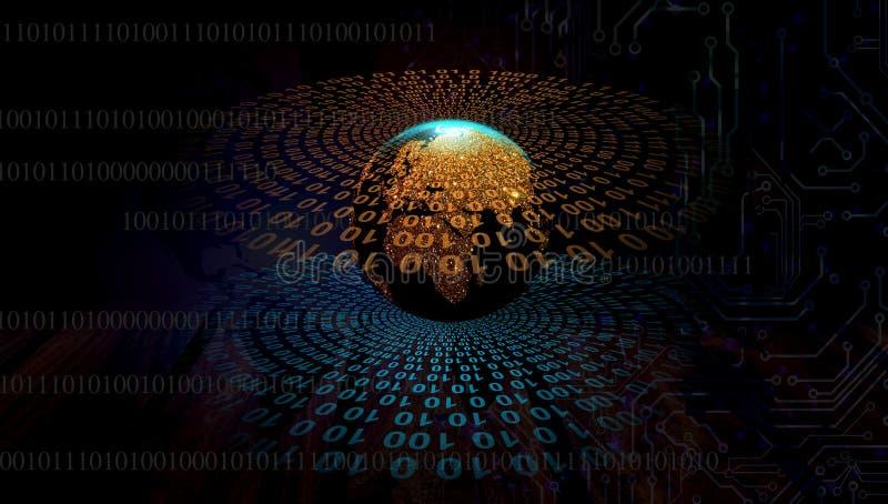 ?rbitas da informa??o global ?rbitas azuis dos dados de Digitas Tecnologia de rede do mundo Uma comunica??o da tecnologia ilustração stock