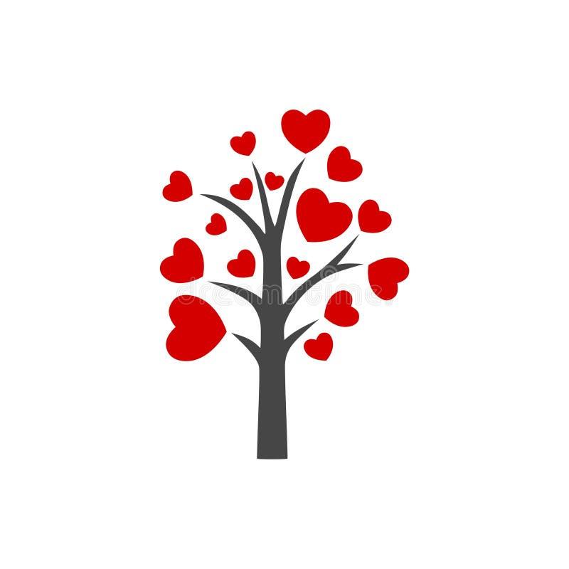 ?rbol con las hojas de la muestra del logotipo del icono de los corazones ilustración del vector