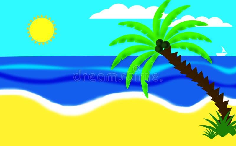 ?rbol de coco en la playa libre illustration