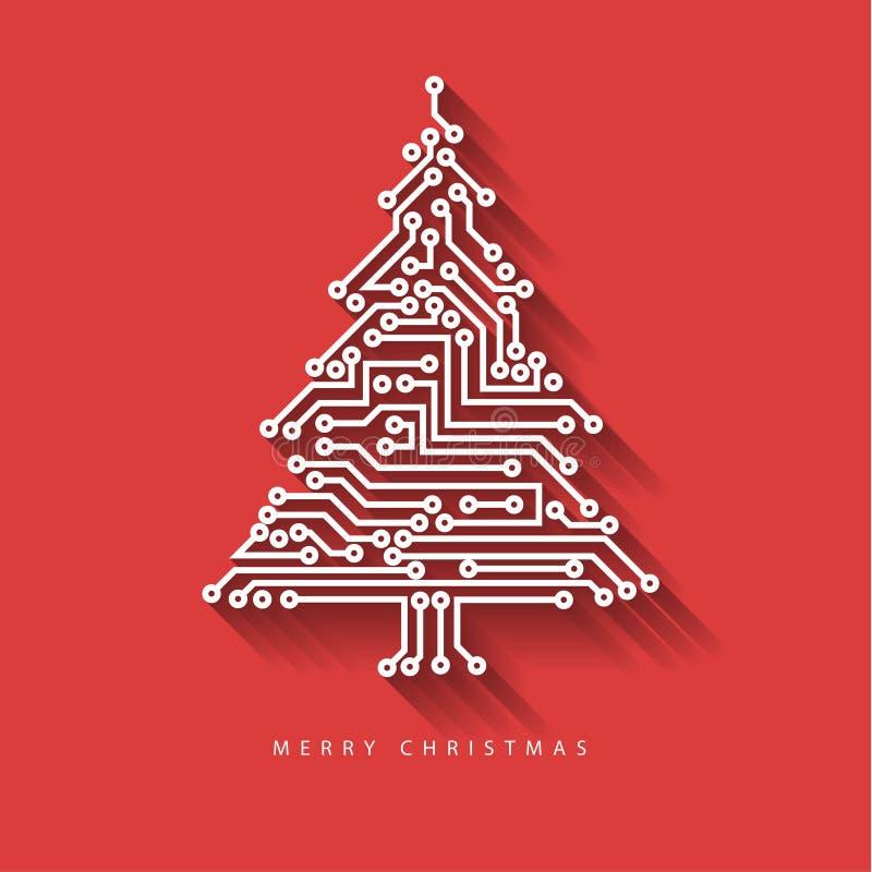 ?rbol de navidad del vector del circuito electr?nico digital libre illustration