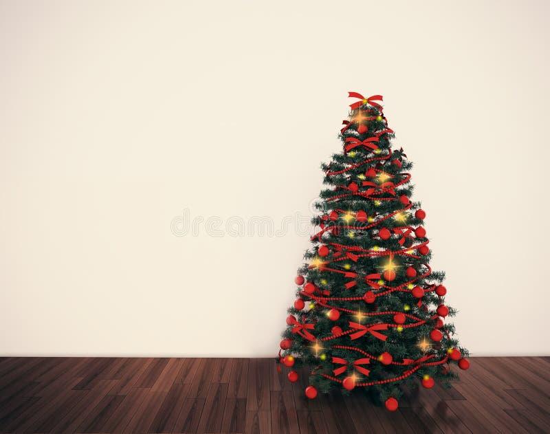 ?rbol de navidad en sala de estar vac libre illustration