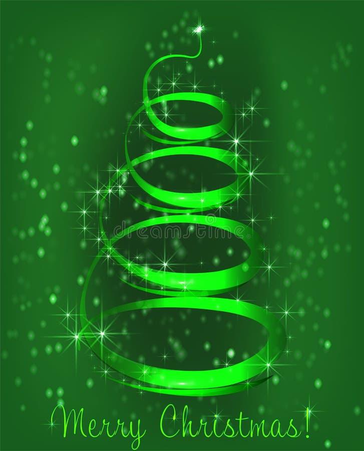 ?rbol de navidad en un fondo verde stock de ilustración